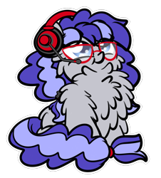 Size: 1777x1963 | Tagged: safe, artist:kimjoman, oc, oc only, oc:cinnabyte, earth pony, pony, adorkable, chest fluff, commission, cute, dork, female, fluffy, gaming headset, glasses, headphones, headset, impossibly large chest fluff, mare, proud, simple background, transparent background, your character here