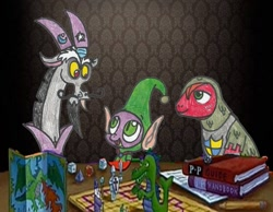 Size: 1024x796 | Tagged: safe, big macintosh, discord, spike, draconequus, dragon, earth pony, elf, dungeons and discords, dungeons and dragons, knight, mid-life crustacean, ogres and oubliettes, spongebob squarepants, wizard