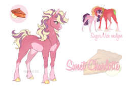 Size: 1300x900 | Tagged: safe, artist:dementra369, oc, pony, unicorn, female, mare, offspring, parent:big macintosh, parent:sugar belle, parents:sugarmac, simple background, solo, white background