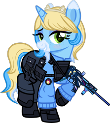 Size: 5000x5612 | Tagged: safe, artist:n0kkun, oc, oc only, oc:meow peow, pony, unicorn, armor, bedroom eyes, belt, blushing, body armor, boots, clothes, female, freckles, glock, gloves, grin, gun, hairband, handgun, holster, jacket, mare, markings, multicolored hair, pants, pistol, pouch, raised hoof, raised leg, shoes, simple background, smiling, solo, submachinegun, transparent background, ump45, weapon
