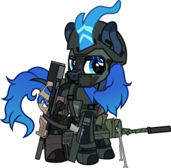 Size: 5179x5086 | Tagged: safe, artist:n0kkun, oc, oc only, oc:aqua roze, kirin, armor, assault rifle, belt, boots, clothes, desert eagle, face paint, famas, female, gloves, gun, handgun, helmet, holster, jacket, kirin oc, knee pads, p90, pants, pouch, rifle, shoes, simple background, smiling, smirk, solo, submachinegun, suppressor, tape, transparent background, weapon