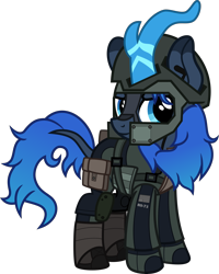 Size: 4000x5002 | Tagged: safe, artist:n0kkun, oc, oc only, oc:aqua roze, kirin, armor, assault rifle, belt, boots, clothes, face paint, female, gloves, gun, helmet, holster, jacket, kirin oc, knee pads, pants, pouch, rifle, shoes, simple background, smiling, smirk, solo, transparent background, weapon