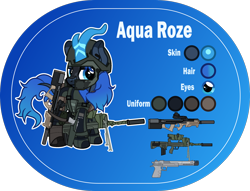 Size: 2000x1526 | Tagged: safe, artist:n0kkun, oc, oc only, oc:aqua roze, kirin, armor, assault rifle, belt, blue background, boots, clothes, desert eagle, face paint, famas, female, gloves, gun, handgun, helmet, holster, jacket, kirin oc, knee pads, p90, pants, pouch, reference sheet, rifle, shoes, simple background, smiling, smirk, solo, submachinegun, suppressor, tape, weapon