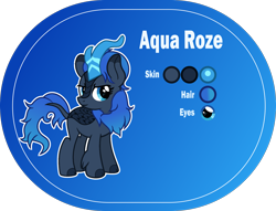 Size: 2000x1526 | Tagged: safe, artist:n0kkun, oc, oc only, oc:aqua roze, kirin, blue background, female, kirin oc, reference sheet, simple background, smiling, smirk, solo
