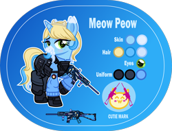 Size: 5000x3815 | Tagged: safe, artist:n0kkun, oc, oc only, oc:meow peow, pony, unicorn, armor, bedroom eyes, belt, blue background, blushing, body armor, boots, clothes, female, freckles, glock, gloves, grin, gun, hairband, handgun, holster, jacket, mare, markings, multicolored hair, pants, pistol, pouch, raised hoof, raised leg, reference sheet, shoes, simple background, smiling, solo, submachinegun, ump45, weapon