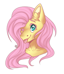 Size: 1713x2000 | Tagged: safe, artist:leawarriors, fluttershy, pegasus, pony, female, mare, one eye closed, smiley face, smiling, solo, tongue out