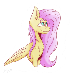 Size: 1822x1928 | Tagged: safe, artist:drawwolfr3, fluttershy, pegasus, pony, bust, chest fluff, ear fluff, eyebrows, female, folded wings, looking away, looking up, mare, outline, simple background, smiling, solo, three quarter view, transparent background, white outline, wings