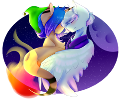 Size: 2700x2221 | Tagged: safe, artist:shinningblossom12, oc, oc only, oc:shinning blossom, pegasus, pony, duo, eyes closed, female, full moon, mare, moon, night, pegasus oc, simple background, smiling, stars, transparent background, wings