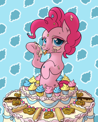 Size: 3000x3746 | Tagged: safe, artist:thehuskylord, pinkie pie, earth pony, pony, bedroom eyes, cake, cream, cupcake, digital art, eclair, female, food, icing on body, icing on nose, licking, lidded eyes, mane, pasties, shade, shading, simple background, smiling, smiling at you, solo, tongue out