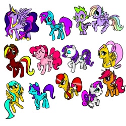 Size: 1080x1079 | Tagged: safe, artist:bellas.den, apple bloom, fluttershy, pinkie pie, rarity, scootaloo, spike, sweetie belle, twilight sparkle, oc, alicorn, dragon, earth pony, pegasus, pony, unicorn, alicorn oc, cutie mark crusaders, eyes closed, female, horn, mare, multicolored hair, rainbow hair, raised hoof, simple background, smiling, twilight sparkle (alicorn), white background, winged spike, wings
