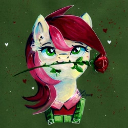Size: 1024x1024 | Tagged: safe, artist:lailyren, roseluck, earth pony, pony, bust, clothes, female, flower, flower in mouth, gouache, green background, heart, heart eyes, looking at you, mare, mouth hold, painting, portrait, rose, rose in mouth, signature, simple background, smiling, solo, traditional art, wingding eyes
