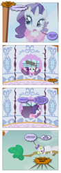 Size: 868x2428 | Tagged: safe, artist:dziadek1990, edit, edited screencap, screencap, opalescence, rarity, cat, dog, unicorn, season 1, suited for success, angry, barking, bathrobe, bed mane, carousel boutique, clothes, comic, conversation, dialogue, garfield, morning ponies, robe, scared, screencap comic, text, thought bubble, tree, window