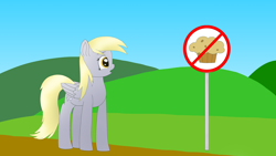 Size: 3840x2160 | Tagged: safe, artist:astralr, derpy hooves, pegasus, pony, female, hill, mare, pure unfiltered evil, sign, sky, solo