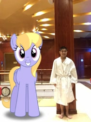 Size: 960x1280 | Tagged: safe, artist:bluemeganium, artist:topsangtheman, cloud kicker, human, pony, clothes, giant pegasus, giant pony, irl, looking at you, macro, photo, photoshop, ponies in real life, robe, spa castle