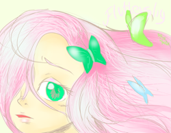 Size: 931x723 | Tagged: safe, artist:beakka, fluttershy, butterfly, human, bust, female, hair over one eye, humanized, solo