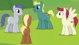 Size: 156x89 | Tagged: safe, screencap, end zone, meadow song, slate sentiments, sugar maple, earth pony, pegasus, pony, school daze, cropped, friendship student, male, picture for breezies, stallion