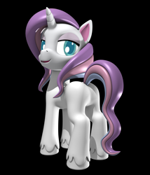 Size: 3000x3500   Tagged: safe, artist:argos90, potion nova, pony, unicorn, my little pony: pony life, 3d, black background, butt, looking at you, plot, simple background, smiling