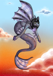 Size: 2894x4093 | Tagged: safe, artist:sugar lollipop, siren, cloven hooves, colored hooves, curved horn, digital art, digital painting, fangs, fins, fish tail, flying, horn, kellin quinn, male, ponified, request, requested art, scales, signature, sleeping with sirens, slit eyes, smiling, solo