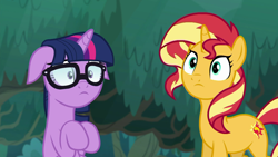 Size: 1920x1080 | Tagged: safe, screencap, sci-twi, sunset shimmer, twilight sparkle, pony, unicorn, equestria girls, spring breakdown, cute, duo, equestria girls ponified, female, floppy ears, glasses, shimmerbetes, twiabetes, unicorn sci-twi