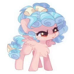 Size: 900x900 | Tagged: safe, artist:vanilla0pie, artist:vanilla_pie_2, cozy glow, pegasus, pony, blank flank, chest fluff, cozybetes, cute, female, filly, simple background, solo, white background