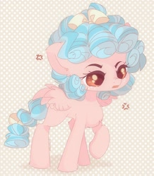 Size: 1788x2048 | Tagged: safe, artist:vanilla0pie, cozy glow, pegasus, pony, blank flank, chest fluff, cozybetes, cross-popping veins, cute, ear fluff, female, filly, leg fluff, open mouth, polka dot background, redraw, solo
