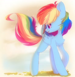 Size: 2008x2048 | Tagged: safe, artist:vanilla0pie, rainbow dash, pegasus, pony, chest fluff, cute, dashabetes, ear fluff, eye clipping through hair, eyebrows visible through hair, female, high res, leg fluff, mare, open mouth, profile, smiling, solo
