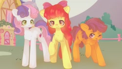 Size: 2048x1152 | Tagged: safe, artist:vanilla0pie, apple bloom, scootaloo, sweetie belle, earth pony, pegasus, pony, unicorn, adorabloom, chest fluff, cute, cutealoo, cutie mark crusaders, diasweetes, female, filly, leg fluff, one eye closed, open mouth, wink