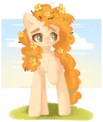 Size: 2700x3210 | Tagged: safe, artist:vanilla0pie, pear butter, earth pony, pony, cheek fluff, chest fluff, cloud, cute, ear fluff, female, flower, flower in hair, high res, leg fluff, mare, messy mane, pearabetes, solo, twig
