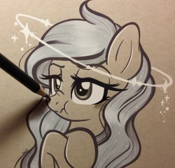 Size: 2048x1965 | Tagged: safe, artist:emberslament, oc, oc only, earth pony, pony, angry, arm hooves, blushing, boop, colored pencil drawing, colored pencils, crossed arms, cute, female, halo, mare, monochrome, pencil boop, photo, scrunchy face, sparkles, traditional art