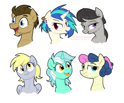 Size: 2400x2000   Tagged: safe, artist:yaco, bon bon, derpy hooves, dj pon-3, doctor whooves, lyra heartstrings, octavia melody, sweetie drops, time turner, vinyl scratch, earth pony, pegasus, pony, unicorn, alternate hairstyle, background six, doctorderpy, ear piercing, earring, female, grin, jewelry, lesbian, lyrabon, male, mare, older bon bon, older derpy hooves, older lyra heartstrings, open mouth, piercing, scratchtavia, shipping, simple background, sketch, smiling, stallion, straight, white background