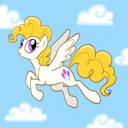 Size: 1280x1280 | Tagged: safe, artist:pfeffaroo, surprise, pegasus, pony, cloud, female, flying, mare, solo