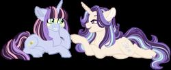 Size: 1024x419 | Tagged: safe, artist:azure-art-wave, oc, oc only, oc:dusk, oc:jade, pony, unicorn, female, kiwi-verse, lying down, magical lesbian spawn, mare, offspring, parent:starlight glimmer, parent:sunset shimmer, parent:trixie, parent:twilight sparkle, parents:startrix, parents:sunsetsparkle, prone, simple background, transparent background