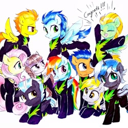 Size: 2322x2322 | Tagged: safe, alternate version, artist:liaaqila, derpy hooves, flash sentry, fluttershy, inky rose, lightning dust, rainbow dash, soarin', spitfire, thunderlane, oc, oc:elizabat stormfeather, alicorn, bat pony, bat pony alicorn, pegasus, pony, alicorn oc, bat pony oc, bat wings, clothes, commission, cute, description at source, description is relevant, dustabetes, eyes closed, female, flying, grin, horn, male, mare, open mouth, raised eyebrow, raised hoof, simple background, smiling, smirk, stallion, the washouts, traditional art, uniform, washouts uniform, white background, wings