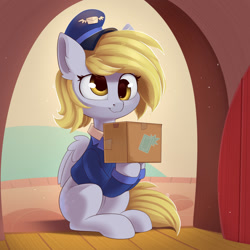 Size: 1200x1200 | Tagged: safe, artist:anti1mozg, derpy hooves, pegasus, pony, my little pony: pony life, pony life, unboxing day, box, cardboard box, cute, derpabetes, female, g4.5 to g4, hat, mailmare, mailmare hat, mare, scene interpretation, smiling, solo, sweet dreams fuel