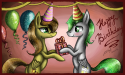 Size: 854x512 | Tagged: safe, derpibooru exclusive, oc, oc:dreamer skies, pegasus, abstract background, balloon, birthday, blushing, celebration, detailed, looking at each other, pegasus oc, present, presenting, signature, smiley face, sparkles, standing, standing on one leg, unknown pony, wings