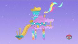 Size: 1920x1080 | Tagged: safe, screencap, my little pony: pony life, pony life, the mysterious voice, duckery in the description, no pony, rainbow, rainbow dash's house, scenery, treehouse logo