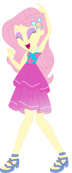 Size: 2705x6448   Tagged: safe, artist:marcorois, fluttershy, equestria girls, equestria girls series, i'm on a yacht, spring breakdown, spoiler:eqg series (season 2), absurd resolution, armpits, bare shoulders, beautiful, clothes, cute, dancing, dress, dress interior, eyes closed, eyeshadow, female, makeup, open mouth, sandals, simple background, singing, sleeveless, sleeveless dress, solo, transparent background