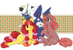 Size: 1397x965 | Tagged: safe, artist:dieva4130, oc, oc only, oc:kittle muddler, oc:orange pekoe, oc:vapor trail, pegasus, pony, unicorn, coffee, coffee mug, coffee pot, eyes closed, female, magic, mare, mug, one eye closed, simple background, telekinesis, transparent background, trio