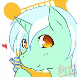 Size: 250x250 | Tagged: safe, artist:dieva4130, artist:diva-c3, lyra heartstrings, pony, unicorn, avatar, candy, colored pupils, female, floating heart, food, heart, implied lesbian, implied lyrabon, implied shipping, mare, solo