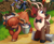 Size: 1836x1512 | Tagged: safe, artist:shadowreindeer, artist:syringa, oc, oc:kevin reindeer, oc:pelagia, deer, reindeer, unicorn, yak, axe, bowtie, bucket, collaboration, log, spilled milk, weapon