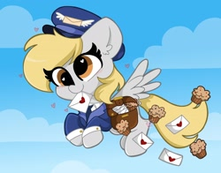 Size: 2048x1606 | Tagged: safe, artist:kittyrosie, derpy hooves, my little pony: pony life, unboxing day, spoiler:pony life s01e30, cloud, cute, derpabetes, ear fluff, female, flying, food, heart, letter, mailmare, mouth hold, muffin, sky, solo, spread wings, wings