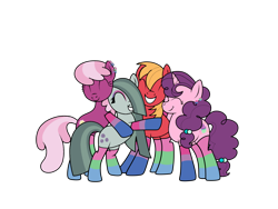 Size: 1600x1200 | Tagged: safe, artist:ichiban-iceychan1517, artist:kb-gamerartist, color edit, edit, big macintosh, cheerilee, marble pie, sugar belle, earth pony, pony, unicorn, big macintosh gets all the mares, bipedal, bisexual, bisexual pride flag, cheerimac, cheerimarblemac, clothes, collaboration, colored, ear piercing, earring, eyes closed, eyeshadow, female, grin, herd, hug, jewelry, lesbian, makeup, male, marbelle, marbilee, marblemac, marblesugarmac, mare, piercing, polyamory, polysexual, polysexual pride flag, pride, pride flag, raised hoof, shipping, simple background, smiling, socks, stallion, straight, striped socks, sugarlee, sugarmac, sugarmaclee, sugarmarilee, transparent background
