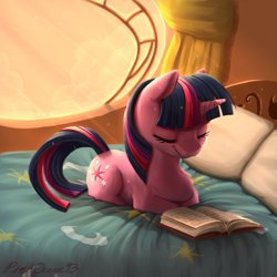 Size: 1251x1251   Tagged: safe, artist:pinkocean93, twilight sparkle, pony, unicorn, bed, book, chest fluff, crepuscular rays, cute, cutie mark, evening, female, golden oaks library, library, mare, pillow, ponyloaf, sleeping, solo, study, sunlight, twiabetes, unicorn twilight, window