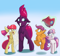 Size: 3000x2800   Tagged: safe, artist:rocket-lawnchair, apple bloom, fizzlepop berrytwist, scootaloo, sweetie belle, tempest shadow, earth pony, pegasus, pony, unicorn, blank flank tempest, bow, cape, chart, clothes, cutie mark, cutie mark crusaders, female, filly, floppy ears, flying, gradient background, grin, hair bow, levitation, magic, mare, nervous, nervous grin, one of us, smiling, telekinesis, the cmc's cutie marks, this will end in tears and/or death and/or covered in tree sap