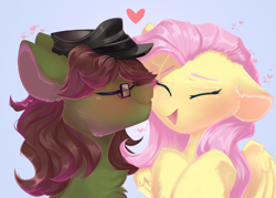 Size: 3500x2500   Tagged: safe, artist:kebchach, fluttershy, oc, oc:kay, earth pony, pegasus, pony, canon x oc, cute, eyes closed, female, floating heart, glasses, happy, heart, kayshy, kiss on the cheek, kissing, male, shipping, shyabetes, straight