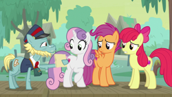 Size: 1920x1080   Tagged: safe, screencap, apple bloom, loose tracks, scootaloo, sweetie belle, earth pony, pegasus, pony, unicorn, growing up is hard to do, cutie mark crusaders, older