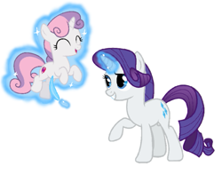 Size: 803x630 | Tagged: safe, artist:princessdestiny200i, rarity, sweetie belle, pony, unicorn, eyes closed, feather, female, filly, glowing horn, grin, horn, laughing, levitation, magic, mare, open mouth, raised hoof, siblings, simple background, sisters, smiling, telekinesis, tickle torture, tickling, white background