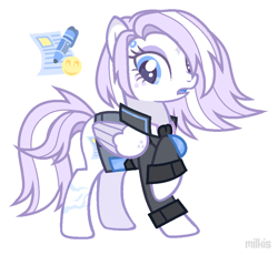 Size: 966x890 | Tagged: safe, artist:milkis, oc, oc only, oc:pale paige, cyborg, pegasus, pony, clothes, cyber-questria, eyeshadow, female, freckles, jacket, makeup, mare, markings, open mouth, raised hoof, scar, shirt, simple background, solo, white background
