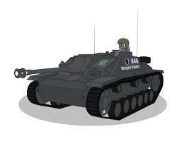 Size: 7500x6000 | Tagged: safe, artist:dolphinfox, oc, oc only, earth pony, pony, absurd resolution, helmet, simple background, solo, stug iii, sturmgeschütz, tank (vehicle), transparent background, world of tanks