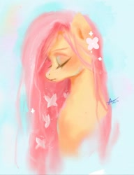Size: 800x1043 | Tagged: safe, artist:annie39367262, fluttershy, butterfly, pony, blue background, bust, cute, eyes closed, female, flower, flower in hair, mare, portrait, profile, shyabetes, simple background, solo